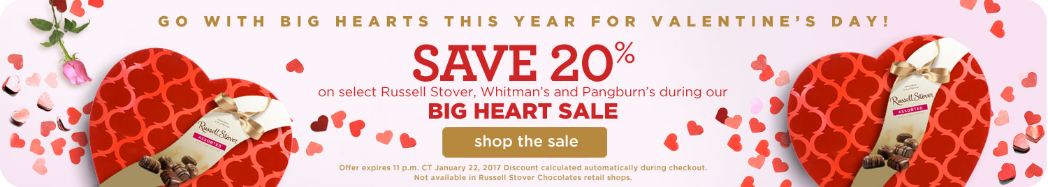 20% OFF Big Heart Boxed Chocolates for Valentine's Day!