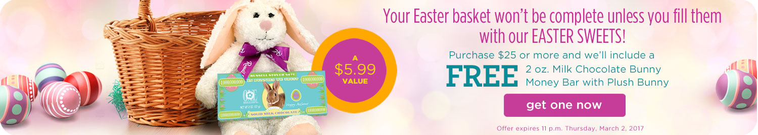 Free Bunny with Candy Bar with Purchase of $25 or More!