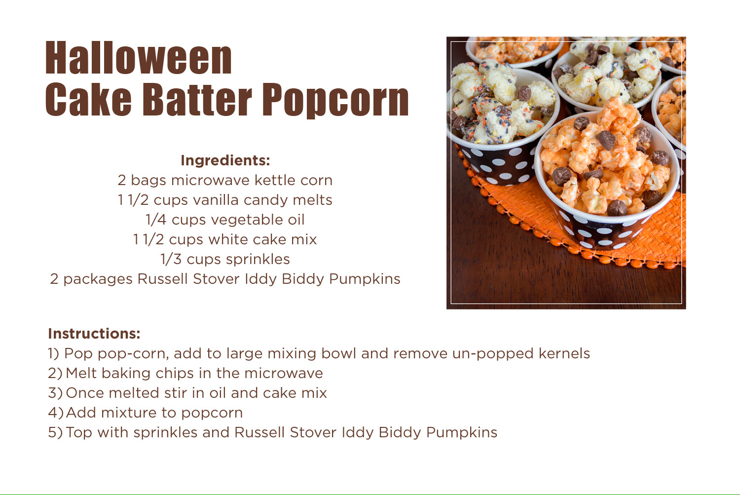 Recipe for Halloween Cake Batter Popcorn