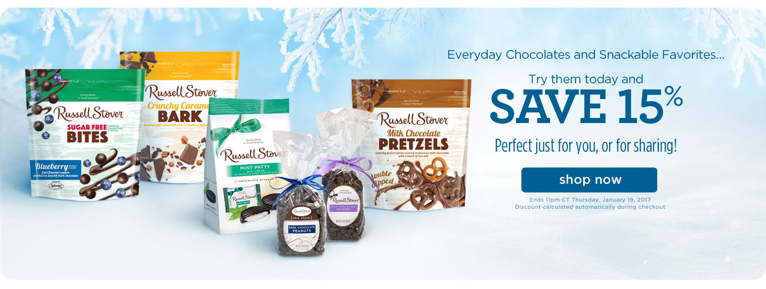 15% Off Everyday Chocolates and Snackable Favorites!
