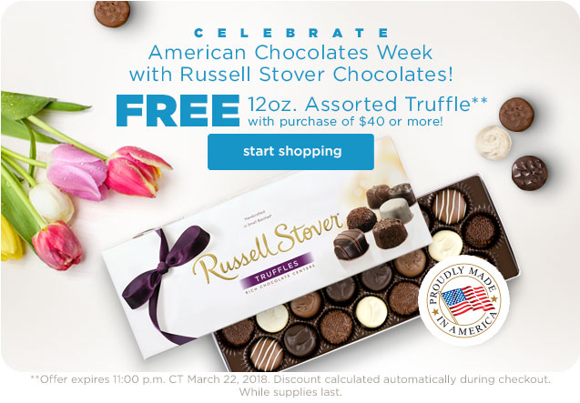 American Chocolate Week - Free 12oz. Assorted Truffle with purchase of $40 or more Online or In Our Chocolate Shops!