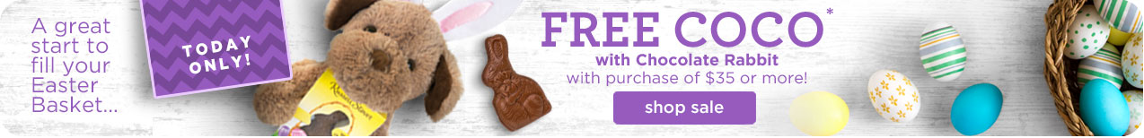 Free Coco with Chocolate Rabbit with purchase of $35 or more!