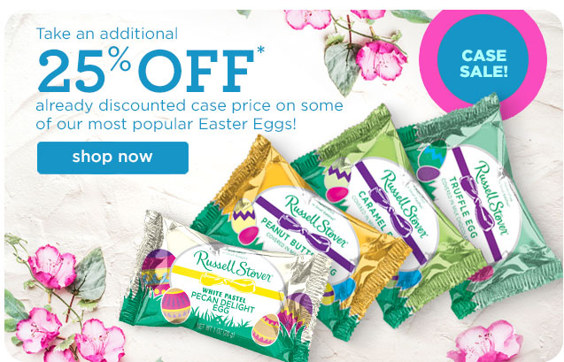 Take an additional 25% OFF already discounted case price on some of our most popular Easter Eggs!