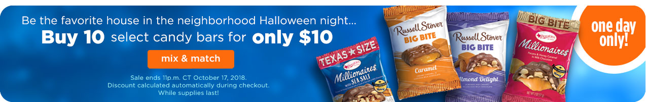 Buy 10 select Candy Bars for only $10