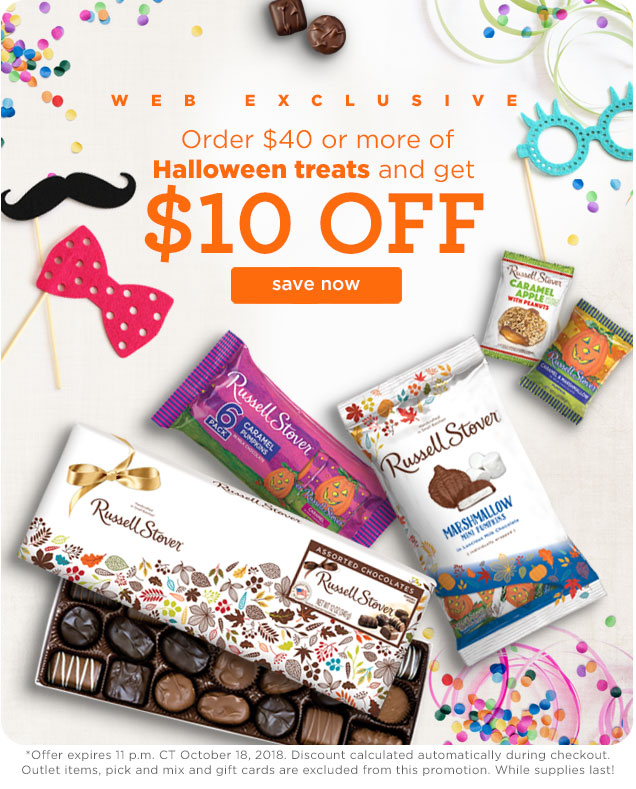 Order $40 or more on Halloween treats and get $10 OFF!