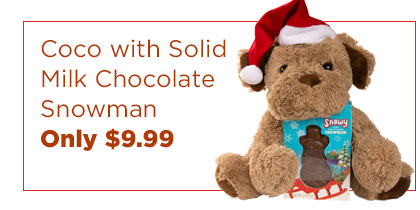Coco with Solid Milk Chocolate Snowman. Only $9.99