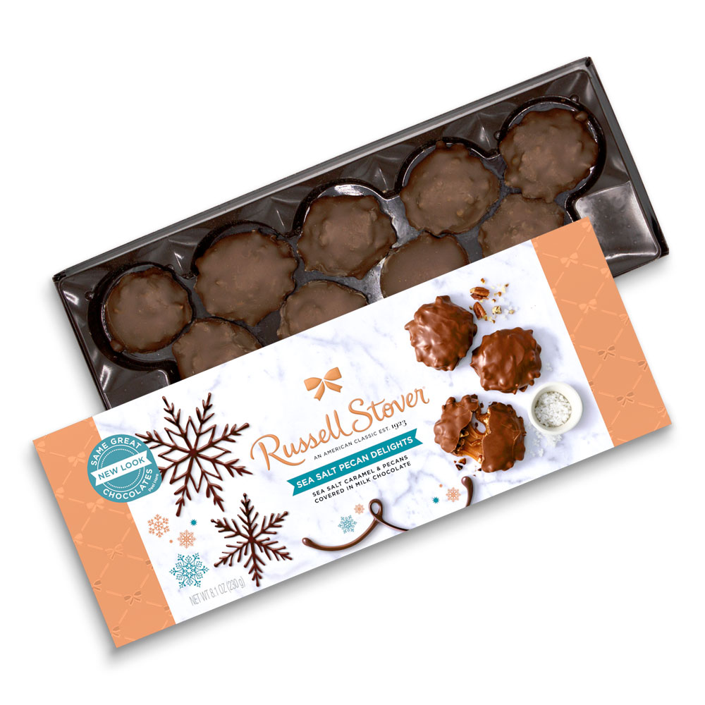 Image for Milk Chocolate Sea Salt Pecan Delights Winter Box, 8.1 oz. Box from Russell Stover
