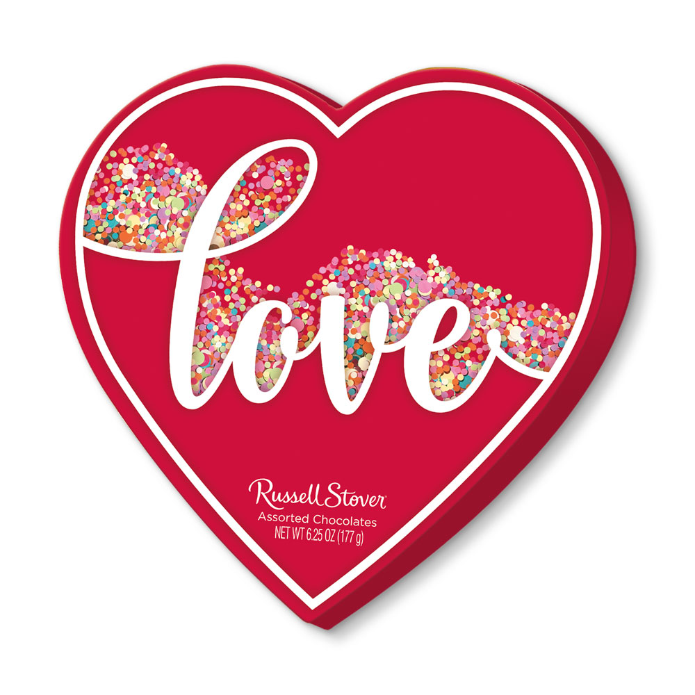 Image for Assorted Chocolates Love Confetti Heart, 6.25 oz. Box  50% OFF - Discount applied in cart from Russell Stover