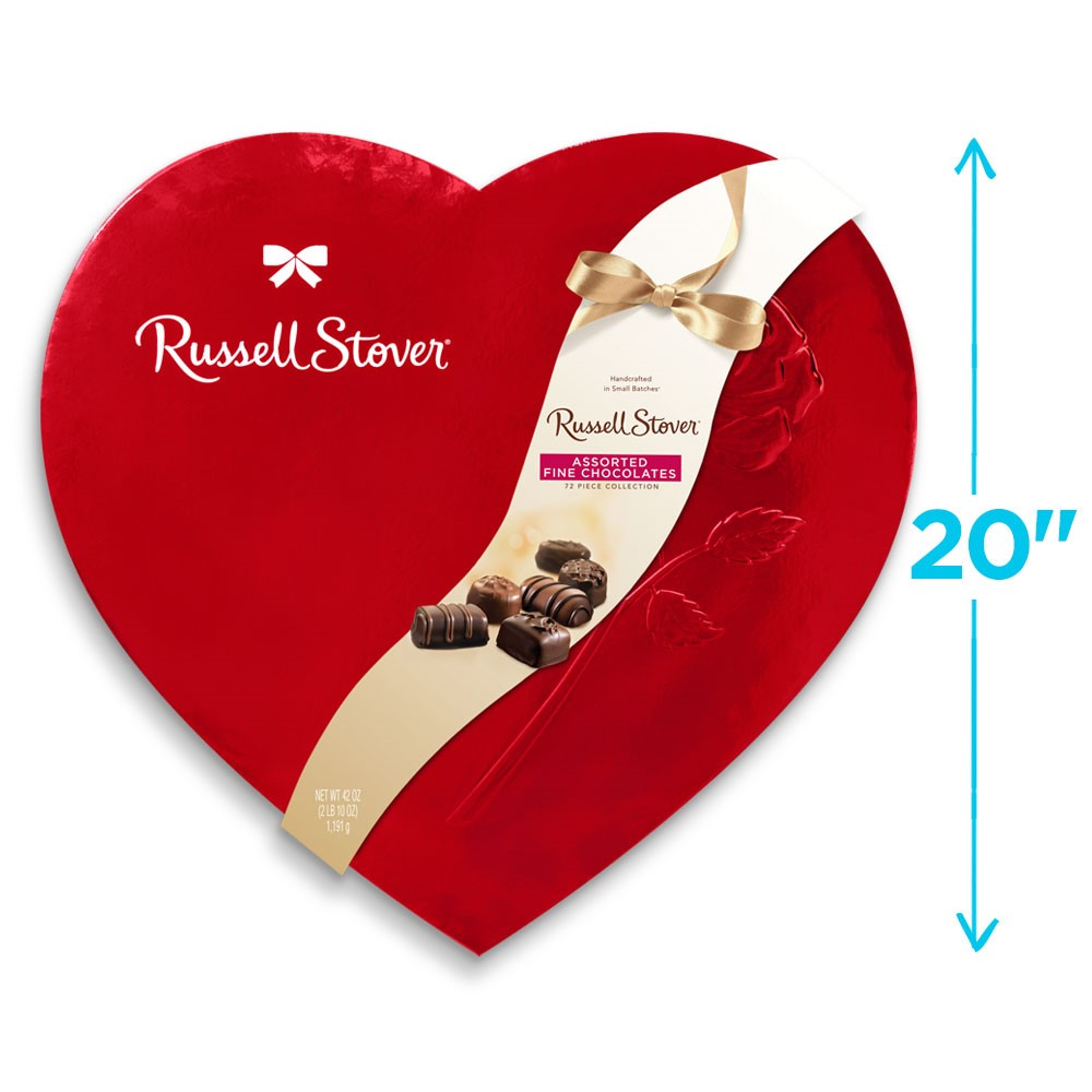 Russell Stover Chocolates coupon: Assorted Chocolate Red Foil Heart, 42 Oz. | Valentines Seasonal | By Russell Stover